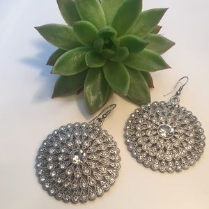 Geometric teardrop circular diamond hang earrings
